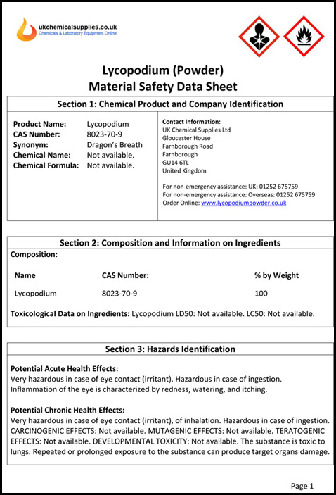 MSDS Page 1